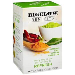 TEA REFRESH TURMERIC CHILI MATCHA GREEN TEA Bigelow Benefits (18 bags x 1 box)