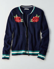 American Eagle Outfitters Women's Embroidered Bomber Sweater Cardigan S Blue NWT