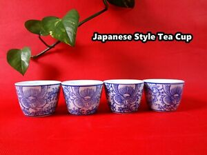 Handmade Japanese Classic Tea Cup Set  Hand Printed 4 cups/set (WJ-17) Brand New