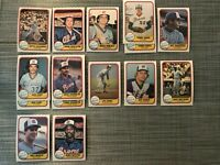 1981 ATLANTA BRAVES Fleer Baseball Card Team Lot 12 Cards + 3 Ex MURPHY HORNER!