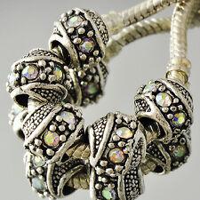 5pcs Silver Plated Rainbow crystal Charm large hole Beads charm charms bracelet