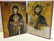 EASTERN ORTHODOX CHRISTIAN DIPTYCH ICON OF CHRIST & THEOTOKOS FROM HAGIA SOPHIA