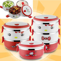 Happy kitten Bento Lunch Box Stainless Steel Thermal Insulated Food Container