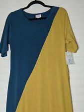 Lularoe Julia Dress Size XL Gold/Teal Nwt