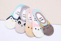 Ladies Women Socks Penguin Cat Panda Short Invisible No Show Silicone Heel Grip