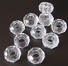10 x Clear Faceted Glass Beads for European Charm Bracelets