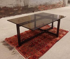 1960s-70s DUNBAR Coffee Table-Bronze/Glass-Roger Sprunger-MCM-NICE!