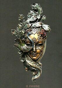 Maschera Veneziana decorativa colore ottone anticato figura Wall Art  Parastone