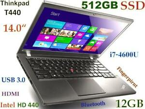 "Slim Thinkpad T440 i7-4600U 512GB SSD 12GB 14"" HD+ Backlit DOcking"