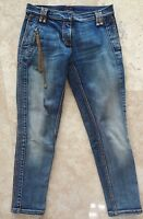 Auth UNUSUAL Roberto CAVALLI Denim JEANS Pants with GOLD Chain & RC LOGO Plate