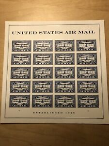 1918 Air Mail Blue Forever Postage Stamp Sheet of 20 MNH Scott #5282, NEW