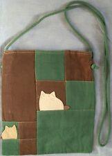 100% Cotton Girls Long Strap Fashion Shoulder Bag Messenger Handbag Green Brown