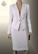 TAHARI Women Skirt Suit IVORY OFF-WHITE Size 10 Two-Piece SHAWL COLLAR NEW$280