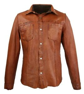 Herren Leder Hemd Cow Boy Shirt in Schwarz/Braun/Blau (S-3XL) *Neu*