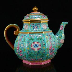 Chinese Qing Dynasty Gilt Edges Famille Rose Porcelain Teapot w Yongzheng Mark