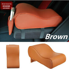 Car Armrest Console Box Top Mat Liner Pad Cover Cushion+ Phone Storage Bag Brown