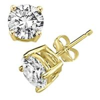 1 ct. White Sapphire Round Stud Earrings in 14k Yellow Gold/Sterling Silver