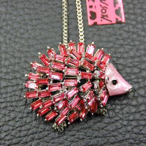 Pink Rhinestone Hedgehog Animal Betsey Johnson Pendant Necklace Chain/Brooch Pin