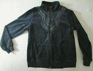 Gloria Vanderbilt full zip velour embroidered jacket XL ladies