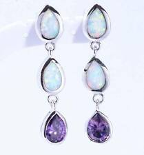 ***STUNNING** Silver/Rhodium Plated WHITE FIRE OPAL/AMETHYST Stud Earrings