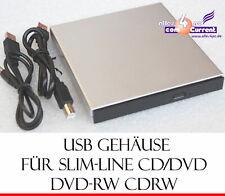 EXTERNES SLIMLINE GEHÄUSE CASE USB 2.0 FÜR CD/DVD CD-RW DVDRW LAUFWERK USB POWER