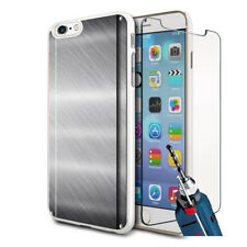 Metal Effect Design Hard Case Cover & Glass For Various Mobiles