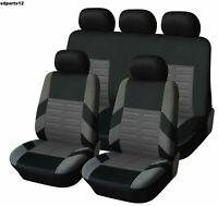 Pour Nissan Peugeot Audi Housses Couvre Sièges Jeu Complet Bicolore Noir Gris