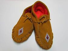 NATIVE AMERICAN MOCCASINS/COMFY SLIPPERS BEADED DIAMOND DESIGN 10 INCHES