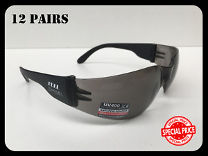 Bulk Buy Wrap Style Safety Glasses 12 Pairs Smoke Lens UV 400