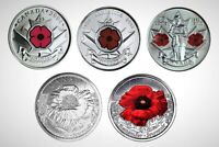 Canada Remembrance 5 Coin Poppy Set, 2004P, 2008P, 2010 and 2015.