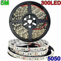16.4ft Bright 12V 5M 5050 RGB Non/Waterproof SMD 300 LED Flexible Strip light