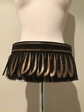 Etro leather suede fringe belt brown bronze NEW in box 95 39 Large 2009