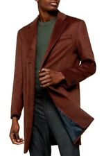 TOPMAN Men's Single Breasted 3 Buttons Long Coat Brown Orange SIZE MEDIUM