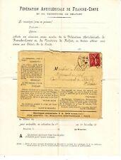 Lettre ANTICLERICALE FRANCHE COMTE Belfort 10c SEMEUSE N° 129 obl BESANCON Doubs
