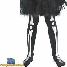 Skeleton Tights Child Black Halloween Childs Fancy Dress Costume Accessory