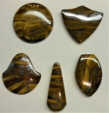 Tigereye Iron Tiger Eye Pendant Beads LOT of 5 Top Drilled Various Shapes