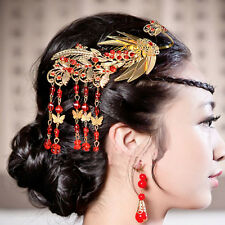 Bridal Chinese gold tone traditional tiara Phoenix Crown comb RB718