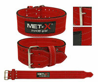 Met-X Leather Weight Lifting Belt PowerLifting Gym Training Bodybuilding Red