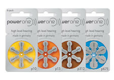60 Power One Hearing Aid Batteries SIZE 10,13, 312, 675-Free Shipping