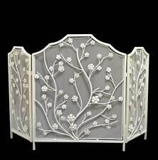Pare Feu Grille ecran protection de Cheminée Fronton en fer forge 118cm blanc