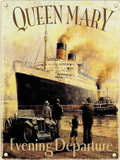 New 15x20cm Queen Mary Ocean Liner Ship small metal advertising wall sign