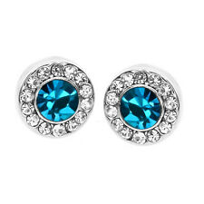 9mm Round Blue Crystal with Accent Stones Earring Studs