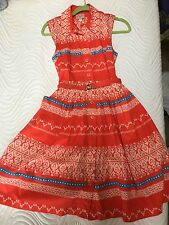 Anthropologie Tracy Reese Poplin Ribbon Shirt Dress Tomato Red 4 NWOT