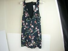 Kendall & Kylie Romper Small Blue Shorts VNeck Sleeveless Floral Print Lined Zip
