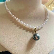 """gorgeous 6-12mm  south sea round white black  pearlnecklace 18"""""""