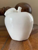William Sonoma White Ceramic Porcelain Apple Bowl Filler Tabletop Decor
