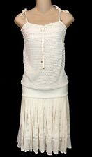 Gucci Dress White Knit Spaghetti Straps Pleated Skirt Drop Waist Size Medium