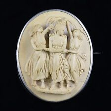 VICTORIAN VOLCANIC CAMEO BROOCH SILVER CIRCA 1860 THREE GRACES