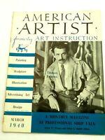 American Artist Magazine March 1940 Thomas Benton Cover  Scarce