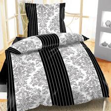 Mikrofaser Bettwäsche Damask 135x200 cm 2-tlg Ornamente Streifen grau